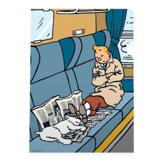 Tintin - Plastficka A4 - Middagslur i tågkupen - Den Svarta Ön