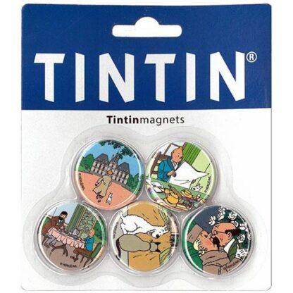 Tintin - Sats med 5 runda magneter